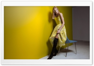 Blonde Girl in Yellow Dress, Over the Knee Boots HD Wide Wallpaper for 4K UHD Widescreen desktop & smartphone