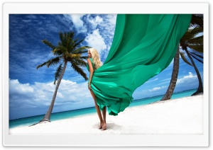 Blonde Girl On The Beach HD Wide Wallpaper for Widescreen
