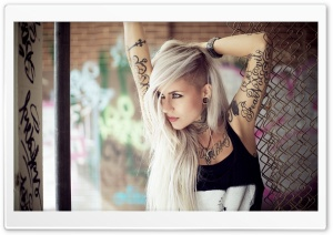 Blonde Girl Tattoos HD Wide Wallpaper for Widescreen