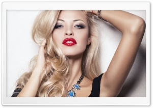 Blonde Girl With Red Lips HD Wide Wallpaper for Widescreen