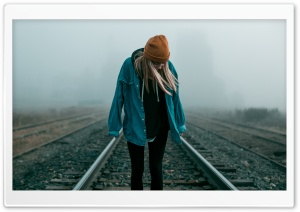 Blonde Girl, Yellow Hat, Railroad HD Wide Wallpaper for 4K UHD Widescreen desktop & smartphone
