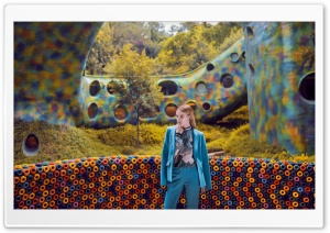 Blonde Woman In Blue Suit HD Wide Wallpaper for 4K UHD Widescreen desktop & smartphone