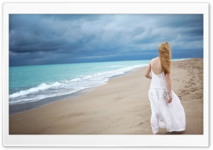 Blonde Woman On The Beach HD Wide Wallpaper for Widescreen