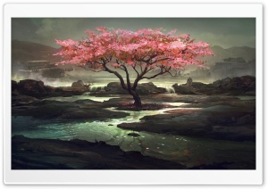 Blossom Tree Painting HD Wide Wallpaper for Widescreen