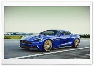 Blue Aston Martin Vanquish On Road HD Wide Wallpaper for Widescreen