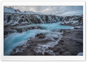 Blue Bruarfoss Waterfall, Winter, Iceland HD Wide Wallpaper for Widescreen