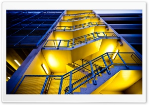 Blue Building, Yellow Stairs HD Wide Wallpaper for Widescreen