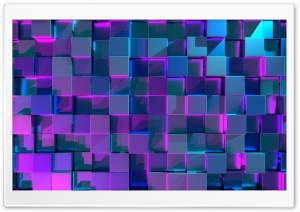 Blue Cubes, Purple Light Background Ultra HD Wallpaper for 4K UHD Widescreen desktop, tablet & smartphone