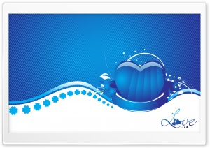 Blue Heart Love HD Wide Wallpaper for Widescreen