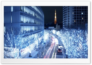 Blue Lights In Tokyo HD Wide Wallpaper for Widescreen