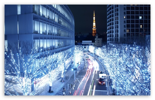 Blue Lights In Tokyo HD wallpaper for Standard 4:3 5:4 Fullscreen UXGA ...