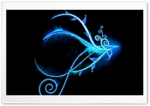 Blue Neon Light Swirls HD Wide Wallpaper for Widescreen