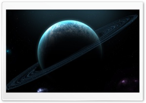 Blue Planet With Rings HD Wide Wallpaper for Widescreen