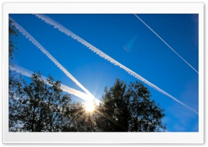Blue Sky an Plane Stripes HD Wide Wallpaper for Widescreen