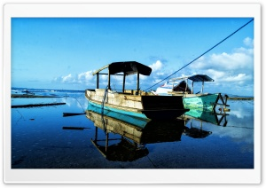 Blue Sky and Little Boat HD Wide Wallpaper for Widescreen