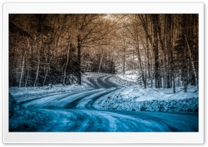 Blue Snow On The Road HD Wide Wallpaper for Widescreen