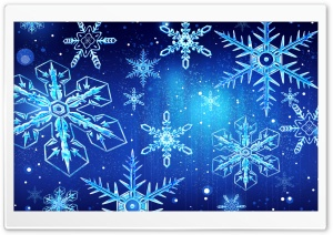 Blue Snowflakes New Year HD Wide Wallpaper for Widescreen