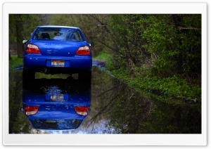 Blue Subaru Reflection HD Wide Wallpaper for Widescreen
