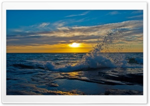 Blue Wave Splash And Yellow Sunlight HD Wide Wallpaper for Widescreen