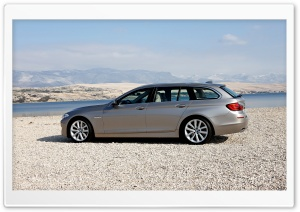 BMW 5 Series Touring 520D In Milano Beige   Beach HD Wide Wallpaper for Widescreen
