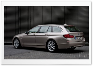 BMW 5 Series Touring 520D In Milano Beige   Rear Angle HD Wide Wallpaper for Widescreen