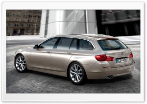BMW 5 Series Touring 520D In Milano Beige   Rear Angle View HD Wide Wallpaper for 4K UHD Widescreen desktop & smartphone
