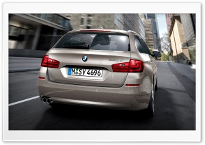 BMW 5 Series Touring F11 In Milano Beige   Rear View HD Wide Wallpaper for Widescreen
