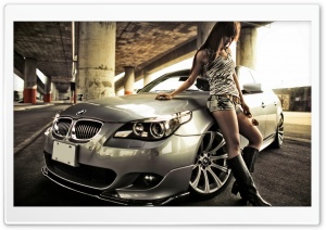 BMW and Hot Woman HD Wide Wallpaper for Widescreen