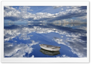 Boat And Clouds Reflecting On Ocean Bar Harbor Maine HD Wide Wallpaper for 4K UHD Widescreen desktop & smartphone