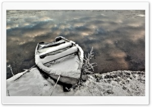 Boat In Winter HD Wide Wallpaper for Widescreen