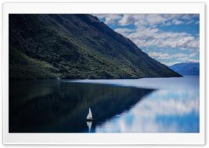 Boat On Mountain Lake HD Wide Wallpaper for 4K UHD Widescreen desktop & smartphone