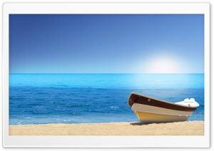 Boat On The Beach Sunny Day HD Wide Wallpaper for 4K UHD Widescreen desktop & smartphone