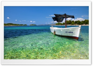 Boat On Tropical Beach HD Wide Wallpaper for Widescreen