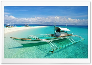 Boat On Tropical Beach With White Sand HD Wide Wallpaper for 4K UHD Widescreen desktop & smartphone
