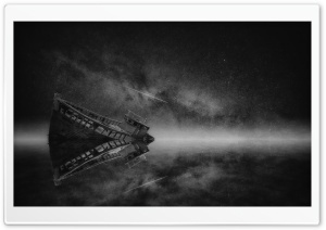 Boat Wreck Mist, Night, Milky Way Galaxy, Stars, Black and White HD Wide Wallpaper for 4K UHD Widescreen desktop & smartphone