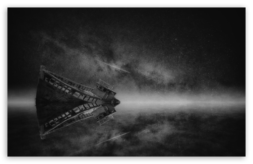 Download Boat Wreck Mist, Night, Milky Way Galaxy,... UltraHD Wallpaper