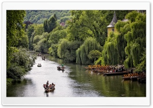 Boats in Tubingen HD Wide Wallpaper for Widescreen