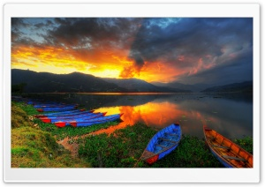 Boats, Lake Scenery HD Wide Wallpaper for Widescreen