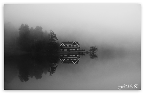 Download Bolu Golcuk Lake Black White HD Wallpaper