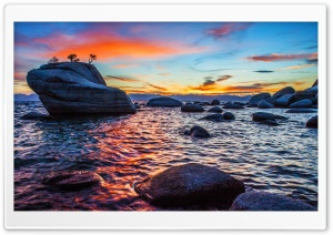 Bonsai Rock Sunset at Lake Tahoe HD Wide Wallpaper for 4K UHD Widescreen desktop & smartphone