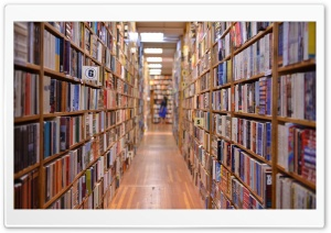 Bookshelves HD Wide Wallpaper for Widescreen