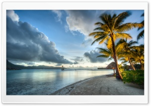 Bora Bora Beach, Clouds HD Wide Wallpaper for Widescreen