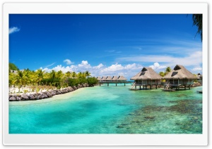 Bora Bora Bungalows HD Wide Wallpaper for Widescreen