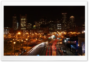 Boston Night Traffic HD Wide Wallpaper for Widescreen