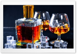 Bottle of Cognac, Glasses, Ice Cubes Ultra HD Wallpaper for 4K UHD Widescreen desktop, tablet & smartphone