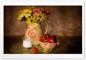 Bowl Of Strawberries, Vintage HD Wide Wallpaper for Widescreen