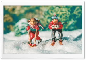 Boy and Girl Skiing HD Wide Wallpaper for Widescreen