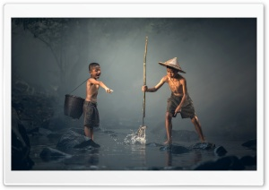 Boy Catching Fish with a Spear Ultra HD Wallpaper for 4K UHD Widescreen desktop, tablet & smartphone