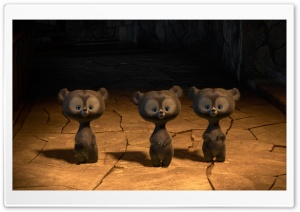 Brave Triplet Bear Cubs HD Wide Wallpaper for Widescreen