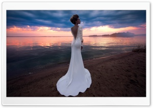 Bride, Beach Wedding HD Wide Wallpaper for 4K UHD Widescreen desktop & smartphone
